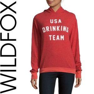 WILD FOX  >NWOT! USA Drinking Team Hoodie